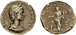 Concordia, standing with a patera and two cornucopiae, on the reverse of this coin of Aquilia Severa.